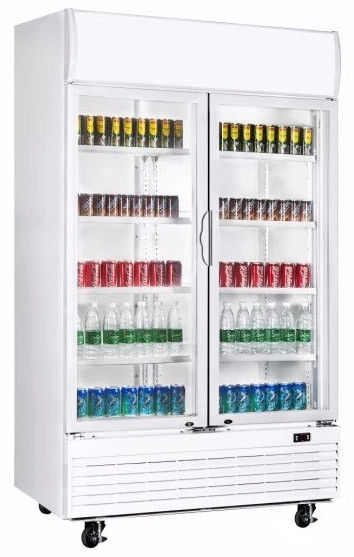 1010L upright double door no frost fan cooling display beverage cooler/glass door chiller/beverage showcase