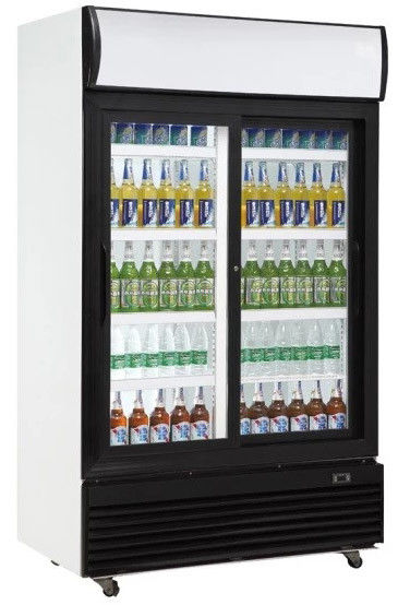 810L upright double sliding door no frost fan cooling display beverage cooler/glass door chiller/beverage showcase