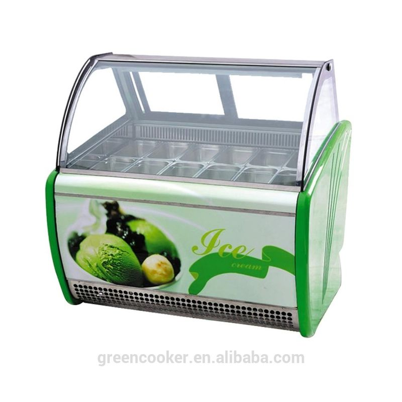 Electric Gelato Display Case , Single Temperature Commercial Display Freezer with 1800mm Length