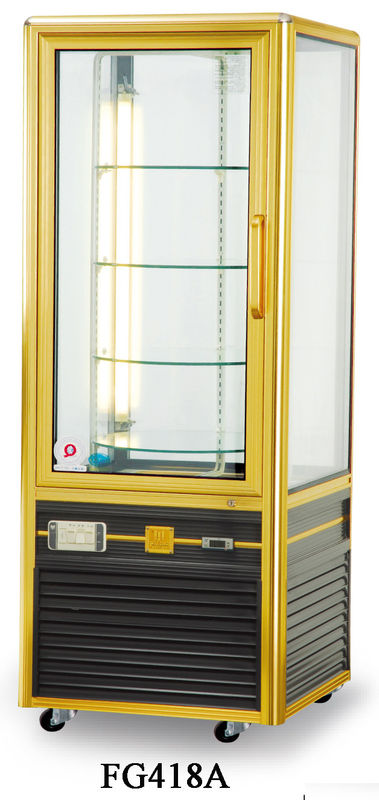 418L Single Temperature Refrigerated Cake Display Cabinets All - Sides Tempered Glass Aluminium Frame